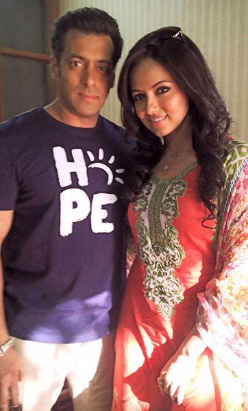 Sana khan with Salman Khan