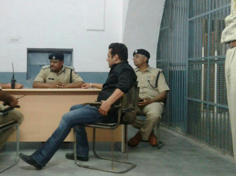 Salman Bhai sit in style in front of police