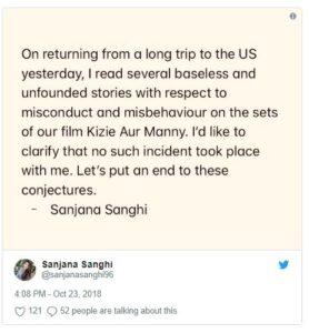 Sanjana sanghi controversy post