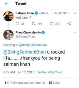 Salman Khan twitter reply to rhea