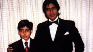 Abhishek Bachchan childhood pic with his father