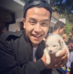 Gary Lu with pet dog