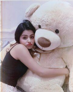 Priyanka Chahar Choudhary with teddy toy lifestyle
