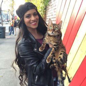 Lilly Singh with her Cat